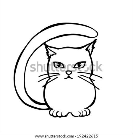 Hand Draw Cat Illustration Cartoon Clipart Stock Vector Royalty