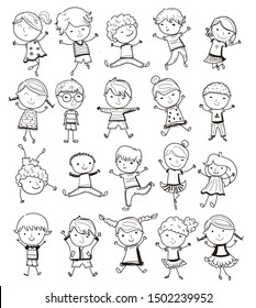 Hand draw children positive,illustration sketch