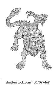 Hand draw of chimera in zentangle style