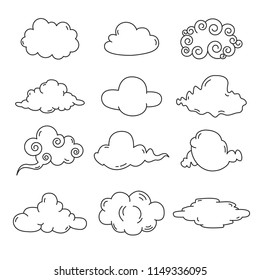 Hand draw cloud collection. Flat style vector illustration.