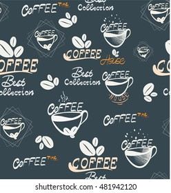Hand Draw coffee seamless Illustration, vector Illustration for your application , project