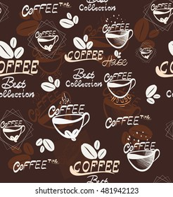 Hand Draw coffee seamless pattern, vector Illustration for your application , project