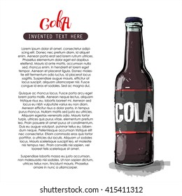 Hand draw of cola bottle. Vector illustration.