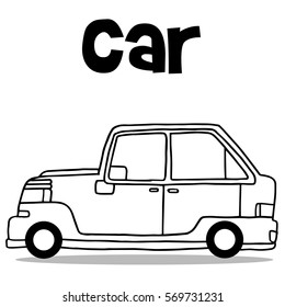 Hand draw collection car of transport vector illustration