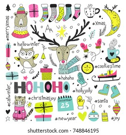 Hand draw collection of christmas doodle elements. Vector winter symbols.