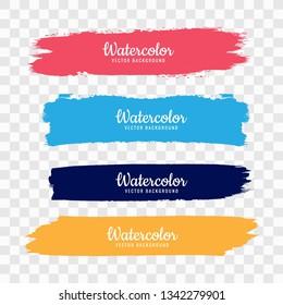 Hand draw colorful watercolor strock set vector