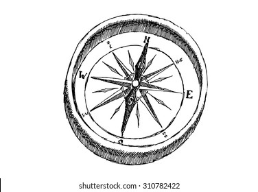 Hand draw compass sketched compass white isolated. Compass on white background, compass icon, sketched compass, compass vector, vintage compass, whiteboard compass, cute compass. Vector illustration.
