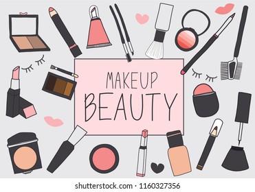 hand draw cosmetics set , vector of  cosmetics set ,