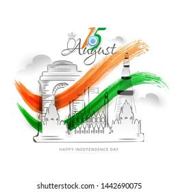 Hand draw creative design poster or wallpaper design with illustration of Red Fort and Tricolor paint stroke art on white background for Happy Independence Day Celebration.