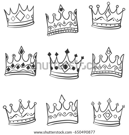 3828e612d736 Sketchy Princess Tiara Crown Notebook Doodles. Hand draw crown style of  doodles