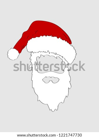 049584cee02 Hand Draw Cut Out Santa Hat Stock Vector (Royalty Free) 1221747730 ...