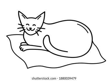 Hand draw cute smiling cat lies on a blanket. Satisfied cat in doodle style. Sleeping pet. Black outlines isolated on a white background. Design for postcard, stickers, booklets. Vector illustration.