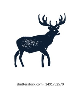 Hand draw Deer Silhouette Grunge. Vector illustration of a Wild Animal stag Isolated on a white background with a worn texture. Element for Logo, Emblem, Poster, Lettering, Pattern, Banner