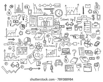 Hand draw doodle elements. Business finance chart graph