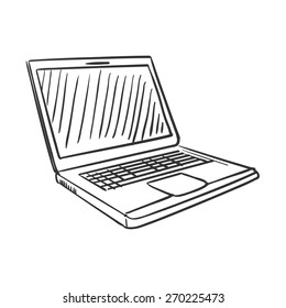 hand draw doodle laptop , excellent vector illustration, EPS 10