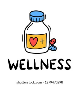 Hand draw doodle wellness medical pill icon in sketch style.