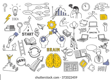 Hand draw doodles vector illustration set in concept of brain, thinking, business solution, method, strategy, object, opportunity, success, idea. Sketching or drawing style.