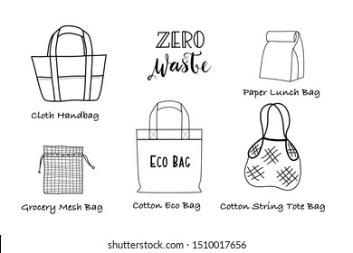Hand Draw Eco Grocery Shopping Bags Collection on White Background. Black Doodle line Art Vector Illustration. No Plastic, Zero waste, Eco Friendly , Plastic Bag Free Concept.