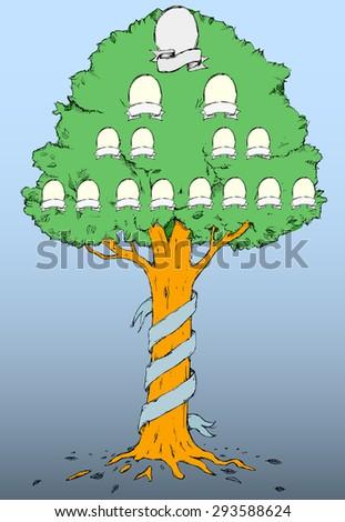 hand draw family tree vector illustration stock vector royalty free
