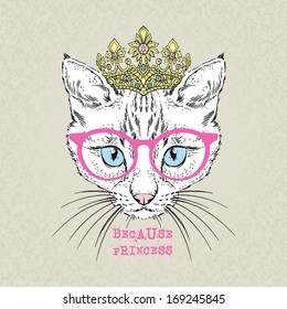 Hand draw fashion portrait of cat girl princess