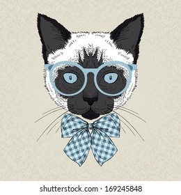 Hand draw fashion portrait of siamese cat hipster