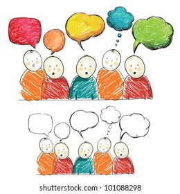 Hand draw figures with speech bubbles, vector