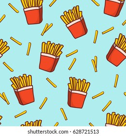 Hand draw french fries. Doodle french fries seamless pattern background.Fast food seamless vector pattern.