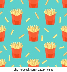 Hand draw french fries. French fries seamless pattern background.Fast food seamless vector pattern.