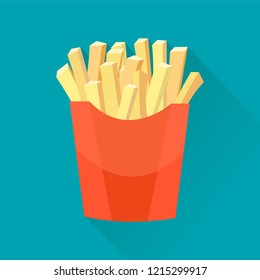 Hand draw french fries. Vector Potatoes French Fries in Red Carton Package Box Isolated on color background. Fast Food