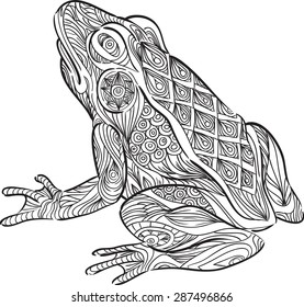 A hand draw of frog in zentangle style