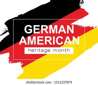 Hand draw German American heritage flag in vector format. German flage for poster. Remember history symbol background. Concept design. Vector Illustration