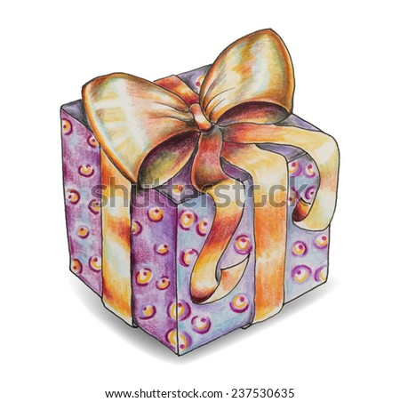Hand Draw Gift Box Stock Vector Royalty Free 237530635 Shutterstock