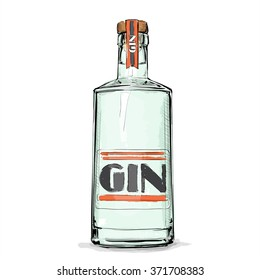 Hand draw of gin bottle. Vector illustration.