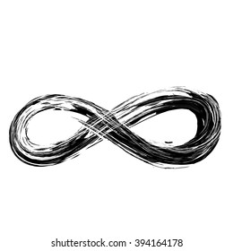 hand draw grunge symbol of infinity, vector illustration sign