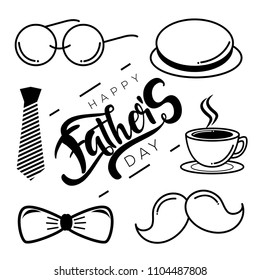 Hand Draw Happy Father's Day Isolated. Vector Illustration.