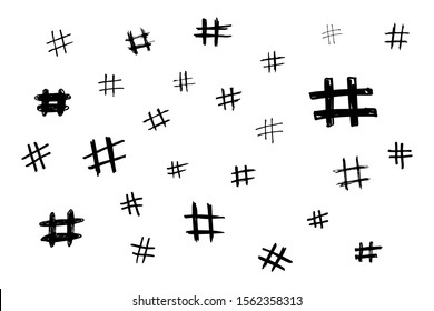 Hand draw hash tags sign kit. Doodle illustration. Basis scribble graphics black and white