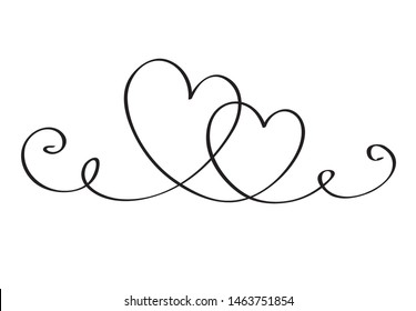 Hand draw heart. Hand drawn doodle vector illustration in a continuous line. Line art decorative design