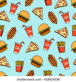 Hand draw hot dog, pizza - colorful pattern background. Fast food seamless vector pattern.