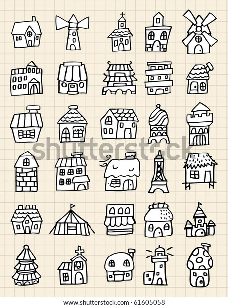 Hand Draw House Element Stock Vector (Royalty Free) 61605058