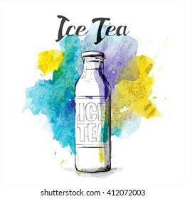 Hand draw of ice tea. Vector illustration.