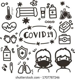 Hand Draw Icons COVID19 corona virus Collection.