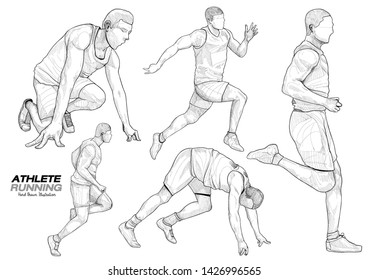 hand draw illustration of athlete running. drawing vector of sport.