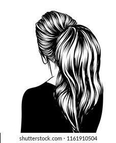 Hand draw illustration of long volume ponytail for wedding or party.Long hair hairstyle.Hand drawn vector idea for business visit cards, templates, web, salon banners,brochures