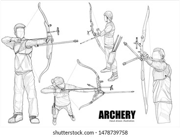 hand draw illustration set of male athlete practicing archery on white background. drawing vector of sport.