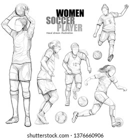 hand draw illustration of women soccer. drawing vector of sport.