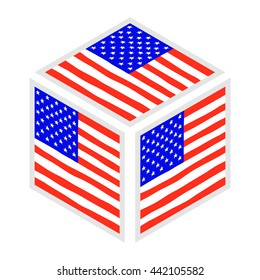 Hand draw isometric vector squared flag of USA. For ui, web games, tablets, wallpapers, and patterns.