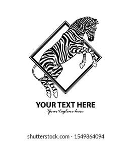 Hand Draw Jumping Zebra Logo Template