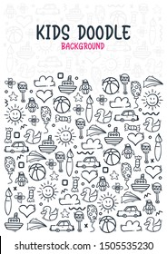 Hand draw Kids doodle background. Objects from a child's life