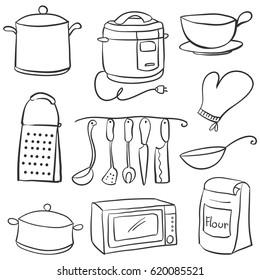 Hand draw of kitchen equipment doodles