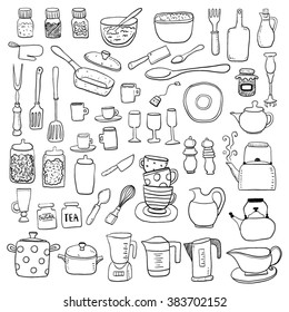 Hand draw kitchen utensils collection